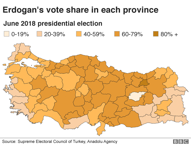 Erdogan's share of vote in each province