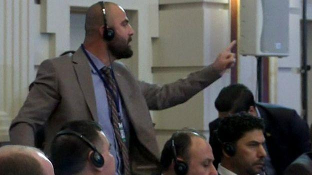 Rebel delegate gestures at Astana talks (04/05/17)