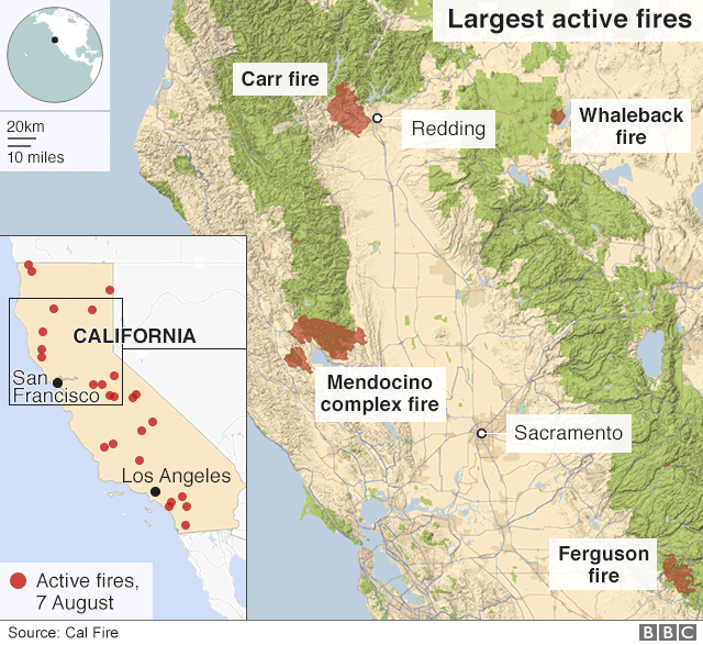 california fire map august 2019