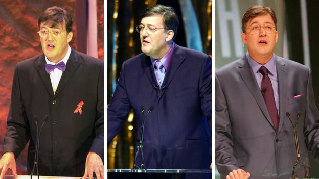Stephen Fry hosting the Baftas in (left-right) 2002, 2003 and 2005
