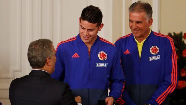 ایوان دوکه، رئیس جمهوری کلمبیا در دیدار با کارلوس کیروش و خامس رودریگز