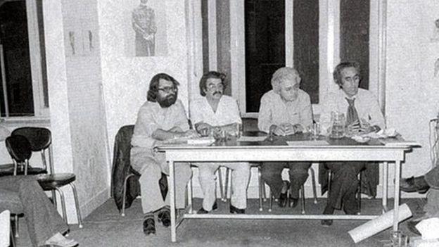 احمد شاملو، غلامحسین ساعدی، باقر پرهام، محسن یلفانی و اسماعیل خویی