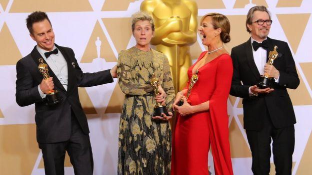 Left-right: Sam Rockwell, Frances McDormand, Allison Janney, Gary Oldman