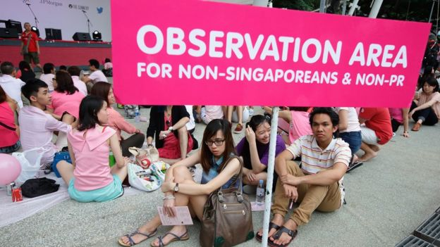 Separate observation area for non-Singaporean and non-permanent resident is designated during the 'Pink Dot SG' event at Hong Lim Park on June 13, 2015 in Singapore.