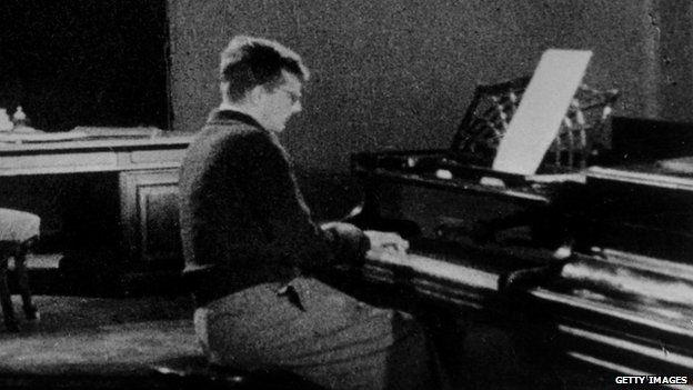 Dmitri Shostakovich at the piano