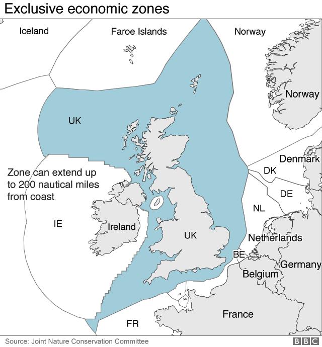 Map showing UK's exclusive economic zones