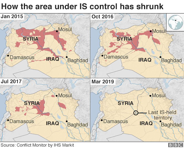 Four maps showing how the area controlled by IS has shrunk