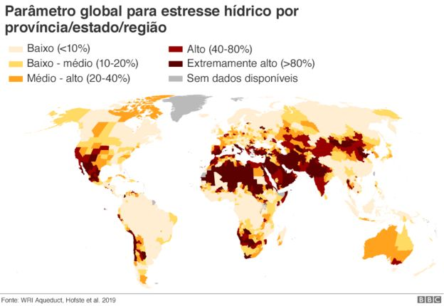 Mapa de parâmetro global para estresse hídrico