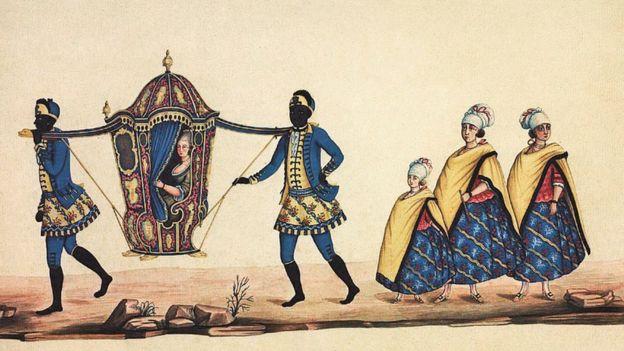 Dama em liteira, carregada por escravos, e suas acompanhantes], aquarela de Carlos Julião, último quarto do século 18. 35 x 45,5 cm