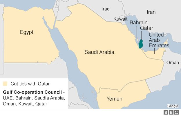 Qatar crisis: What you need to know - BBC News on south africa map, tunisia map, kuwait map, dubai map, iraq map, oman map, bangladesh map, germany map, yemen map, soviet union map, syria map, philippines map, singapore map, sudan map, japan map, morocco map, jordan map, ksa map, bahrain map, china map,
