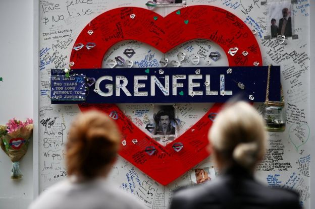Messages at the base of Grenfell tower