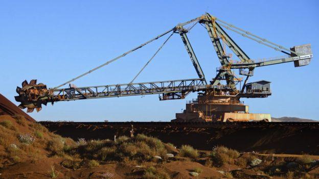 Digging iron ore
