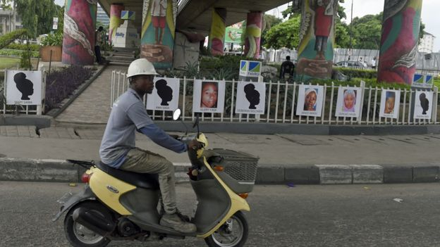 Portraits of some of the Chibok schoolgirls abducted by Boko Haram five years ago on displayed at Falomo roundabout in Lagos, Nigeria