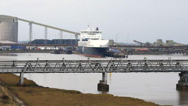 Vista geral do porto de Immingham na região de Humber