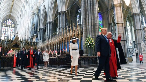 President Trump in Westminster Abbey