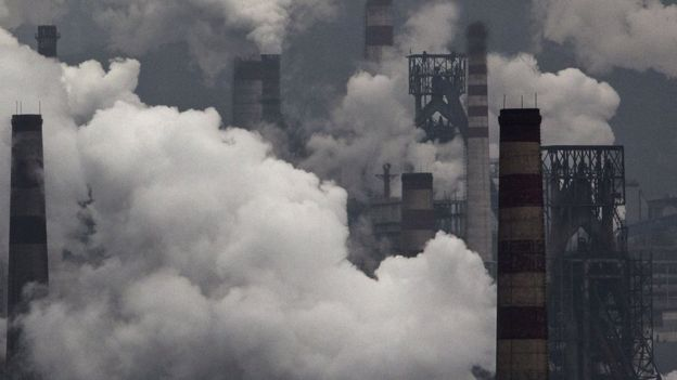 Smoke billows from a steel factory in Hebei, China, November 19, 2015