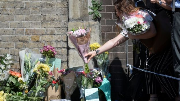 Flowers near scene of attack