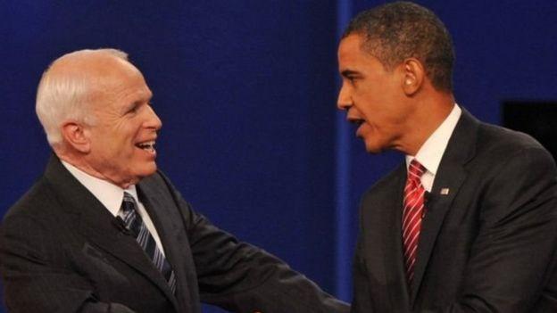 باراك أوباما مع جون ماكين
