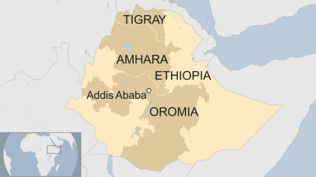 A map of Ethiopia showing Tigray, Amhara and Oromia.
