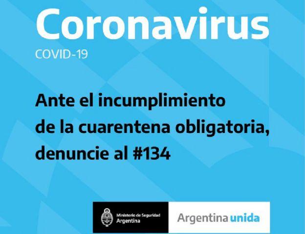 Un aviso del Ministerio de Seguridad argentino sobre la línea especial creada para denunciar a quienes violan la cuarentena
