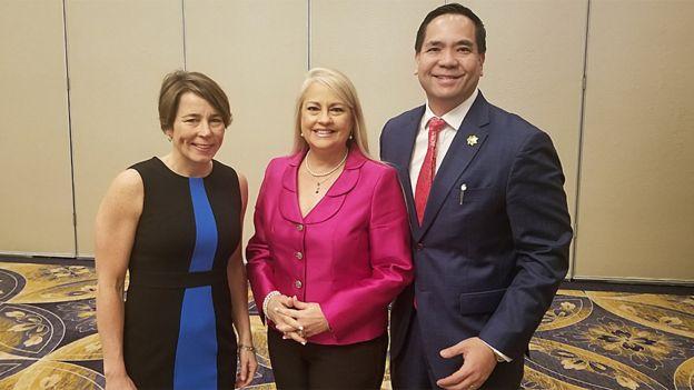 Wanda Vázquez Garced (centro) con los fiscales generales de Massachusetts, Maura Healy (izq.), y de Utah, Sean Reyes durante la Cumbre de Trata Humana