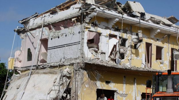The badly damaged building of Nasa-Hablod hotel stands in Mogadishu, Somalia, on 26 June