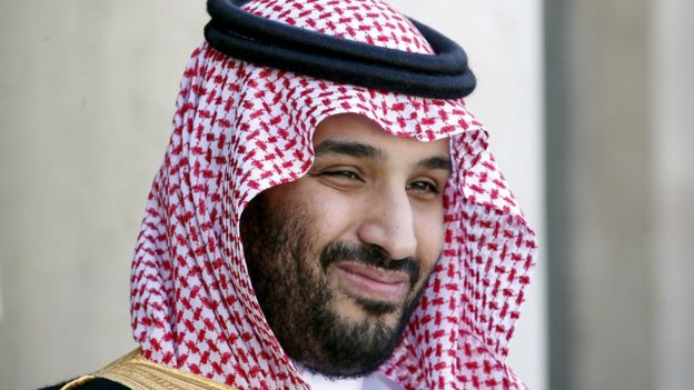 Mohammed bin Salman photographed in Paris with a smile on his face, June 2015