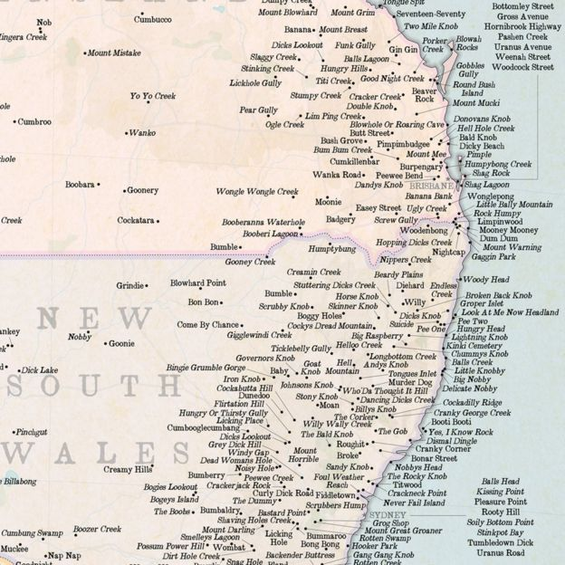 Map Of Australia Funny.British Mapmaker Highlights Rudest Places In Australia Bbc News