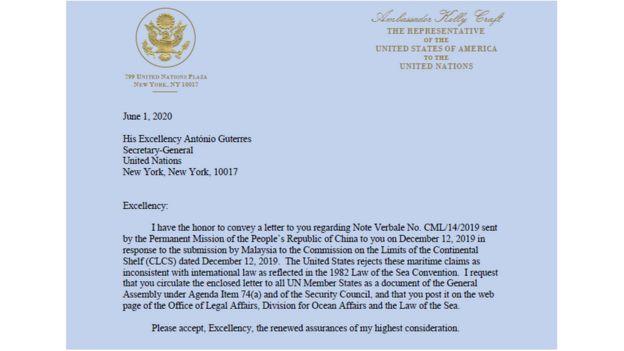 Công hàm Mỹ gửi LHQ