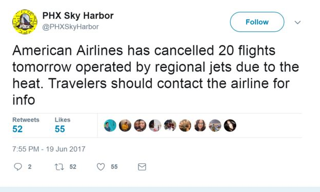 Tweet from @PHXSkyHarbour: American Airlines has cancelled 20 flights tomorrow operated by regional jets due to the heat. Travelers should contact the airline for info