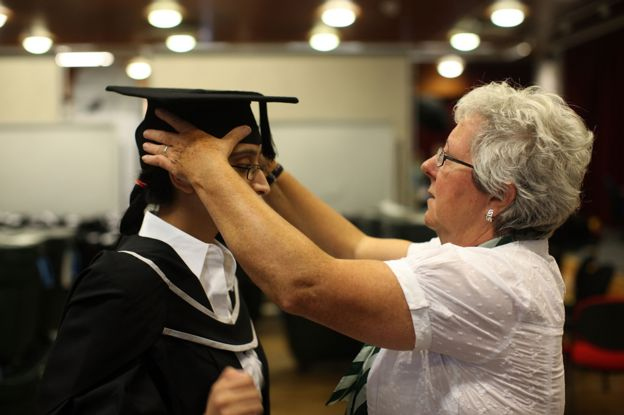 A student preparing for graduation at University of Birmingham