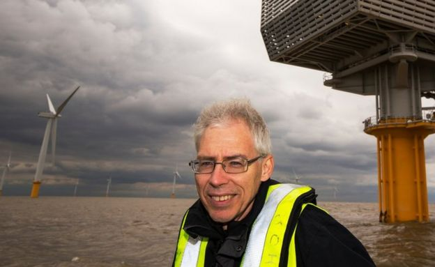 Doug Parr in front of windfarm