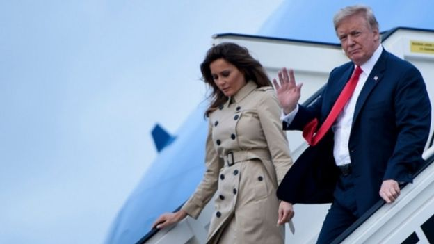 US President Donald Trump and first lady Melania Trump arrive at Melsbroek air base in Belgium, 10 July 2018