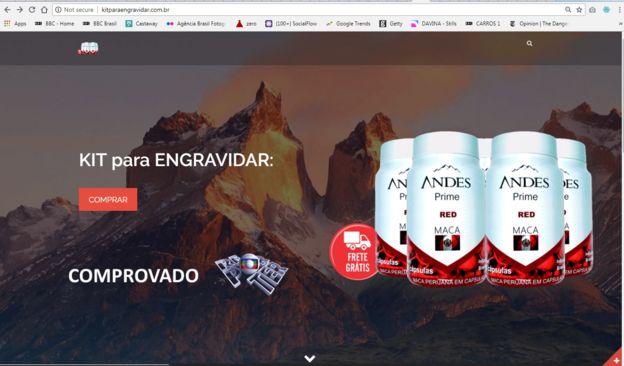 """Imagem mostra promoção de """"kit para engravidar"""" da marca Andes Prime"""