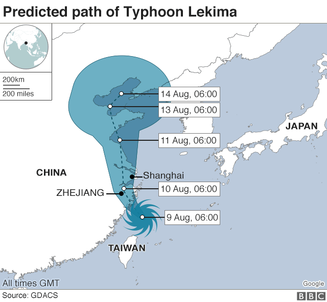 Predicted path of Typhoon Lekima