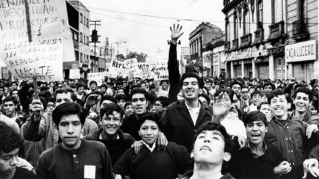 Manifestación de estudiantes en julio de 1968.