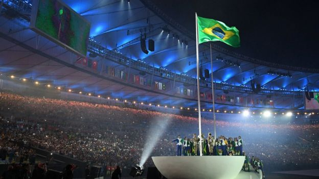 The opening ceremony of the Rio Olympics at the Maracana Stadium, August 2016