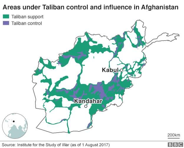 Graph showing the areas under Taliban control in Afghanistan.