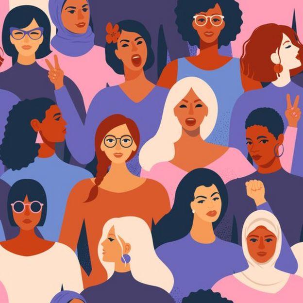Ilustração mostra várias mulheres com aparências diferentes enfileiradas