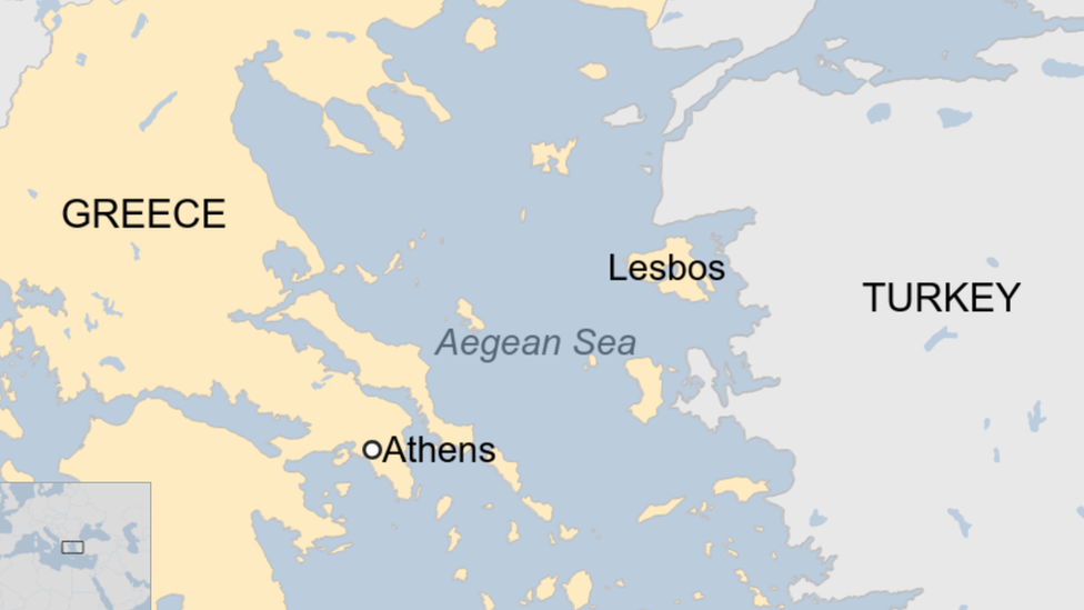 Map shows the location of the Greek island of Lesbos