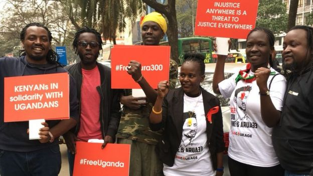 Nchini Kenya raia walimiminika katika mji mkuu wa Nairobi leo kushinikiza kuachiwa kwa Bobi Wine