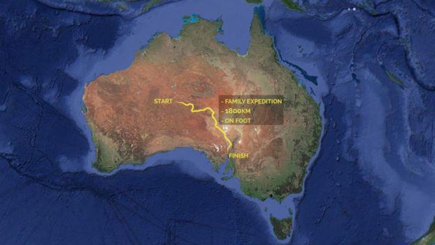 瓊斯夫婦橫越澳洲路線圖。