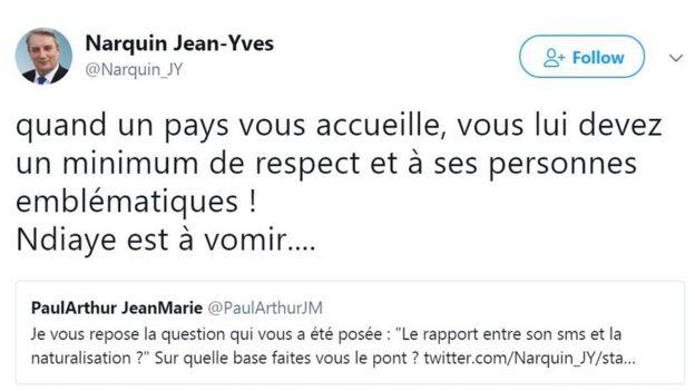 Un tweet de Jean-Yves Narquin, maire Front national de Villedieu-le-Château