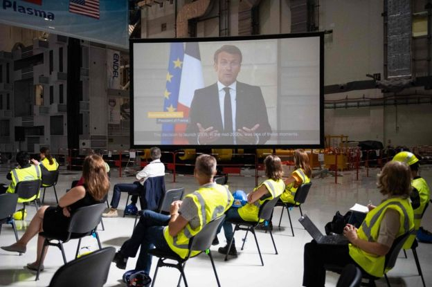 El presidente Macron en videoconferencia
