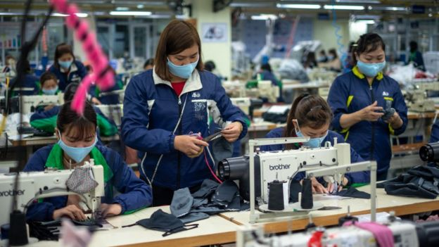 face masks produced at TNG (Thai Nguyen Garment) factory