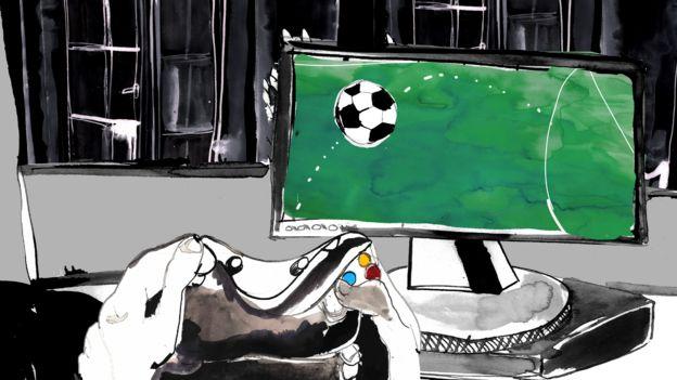 Ilustración de juego de fútbol en línea