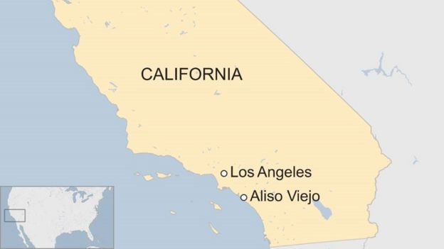 Map of California showing Los Angeles and Aliso Viejo to the south
