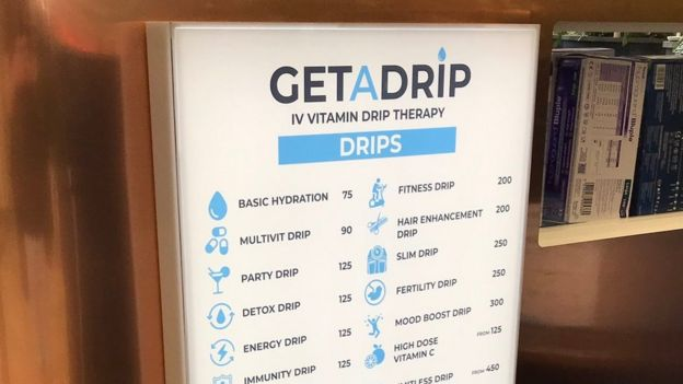 The menu of products at Get A Drip's location in Westfield shopping centre