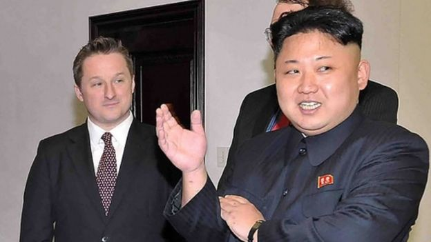 Michael Spavor with North Korean leader Kim Jong-un (2013)