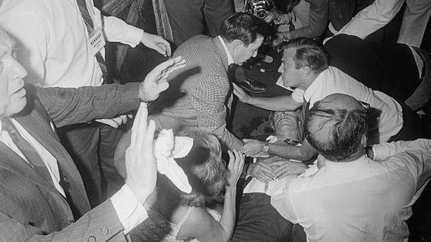 Robert F Kennedy lies on the floor of the Ambassador Hotel after being shot by Sirhan Sirhan